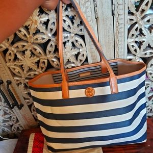 TORY BURCH LARGE NAVY STRIPED TOTE PURSE AUTHENTIC